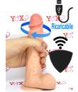 Vibratore rotante realistico wireless ricaricabile color carne con ventosa 20,5 x 4 cm.