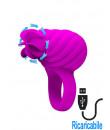 Anello fallico in silicone rosa con ruota lecca clitoride ricaricabile USB 3,5 cm.
