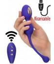 Ovulo doppio con elettrostimolazione in silicone viola ricaricabile tramite USB 10,25 x 3,25 cm. e telecomandato wireless