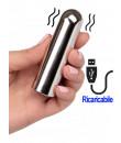 Mini bullet vibrante argento ricaricabile tramite USB 9 x 2,5 cm.