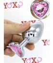 Cuneo Anale Large in Alluminio con Gemma a Forma di Cuore Tipo Diamante Rosa 9,4 x 4,1 cm.