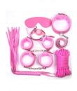 Omaggio Kit BDSM Rosa Completo con Frusta Manette Cavigliere Maschera Collare Corda e Gagball