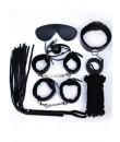 Omaggio Kit BDSM Nero Completo con Frusta Manette Cavigliere Maschera Collare Corda e Gagball