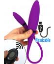 Doppio Ovulo Vibrante in Silicone con Telecomandato Wireless Ricaricabile USB 53 x 2,4 cm. Viola