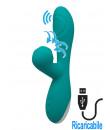 Vibratore Rabbit in Silicone con Risucchio e Pulsazione Ricaricabile USB 21 x 4,1 cm. Azzurro Acqua