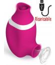 Succhia e lecca clitoride 2 in 1 in silicone rosa con lingua oscillante e funzione risucchio ricaricabile tramite USB