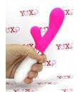 Vibratore rabbit in silicone rosa 21,6 x 3,4 cm.