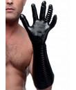 Guanto nero zigrinato per fisting con dita stimolanti