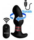Cuneo anale in silicone nero rotante su testa e gambo a doppio bulbo con telecomando wireless 13,7 x 4 cm.