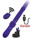 Vibratore in silicone viola con spinta e ventosa removibile ricaricabile con USB 31 x 3,7 cm.