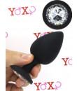 Cuneo anale nero in silicone con gemma tipo diamante 9 x 4,5 cm.