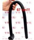 Gut snake Dildo flessibile con presa in silicone nero 67 x 2,5 cm.