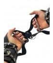Manette DeLuxe per sospensione regolabili in vera pelle nera con anelli