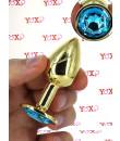 Cuneo Anale in Alluminio con Gemma a Azzurra 7,1 x 2,8 cm. Oro