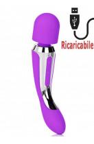 Massaggiatore 2 Motori Ricaricabile USB in Puro Silicone Viola 23 x 4,5 cm.