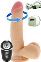 Vibratore Realistico Rotante Ricaricabile USB Telecomandato Wireless 18 x 4 cm.