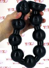Big Snake Beads - Gut Snake Dildo Flessibile con 8 Bulbi 48 x 4,5 cm. Nero