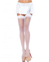 LEG AVENUE Calze Velate Bianche Autoreggenti - Taglia Unica Elasticizzata (Tg.36-48)