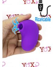 Stimolatore clitoride impermeabile pulsante ed aspirante ricaricabile USB in silicone viola