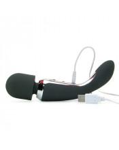 Massaggiatore + Vibratore Nero 2 Motori RICARICABILE USB in Puro Silicone 23 x 4,5 cm.