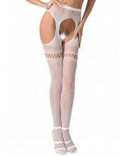 Collant sexy bianchi con ricamo misto e apertura sui fianchi - Taglia unica elasticizzata (Tg. 36-46)