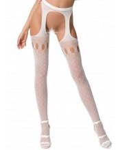 Collant sexy bianchi con ricami a rete grande e piccola - Taglia unica elasticizzata (Tg. 36-46)