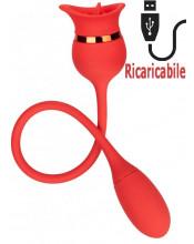 Stimola vagina e clitoride con lingua e bullet vibrante in silicone arancione ricaricabile USB