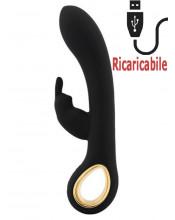 Vibratore Rabbit Riscaldante con Motore Doppio Ricaricabile USB in Silicone Nero 19 x 3,3 cm.
