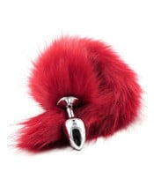 Omaggio cuneo anale in acciaio inossidabile con coda da volpe rosso 4 x 2,5 cm.