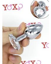Cuneo Anale in Alluminio con Gemma a Forma di Cuore Tipo Diamante Bianco 6,1 x 2,7 cm.