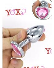 Cuneo Anale in Alluminio con Gemma a Forma di Cuore Tipo Diamante Rosa 6,1 x 2,7 cm.