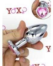 Cuneo Anale in Alluminio con Gemma a Forma di Cuore Tipo Diamante Rosa 8,2 x 3,4 cm.