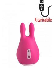 Stimolatore Clitoride a Forma di Coniglietto Ricaricabile Tramite USB 9 x 5 cm.