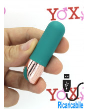 Bullet impermeabile stimola clitoride in silicone turchese ricaricabile con USB 6,5 x 1,9 cm.