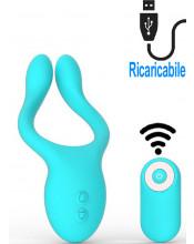 Vibratore per coppia in silicone turchese ricaricabile con USB con telecomando 13,5 x 4,5 cm.