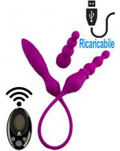Doppio Ovulo Vibrante in Silicone con Telecomandato Wireless Ricaricabile USB 61,5 x 3,4 cm. Viola