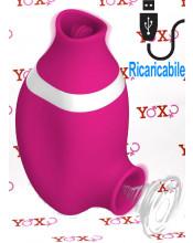Succhia e lecca clitoride 2 in 1 in silicone rosa con lingua oscillante e funzione risucchio ricaricabile USB