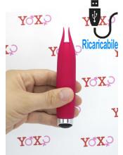 Mini stimolatore per clitoride in silicone magenta per stimolazione intensa ricaricabile  USB