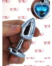 Cuneo Anale in Alluminio con Gemma a Forma di Cuore Azzurro 7,1 x 2,8 cm. Argento