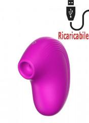 Stimolatore clitoride impermeabile pulsante ed aspirante ricaricabile USB in silicone fucsia