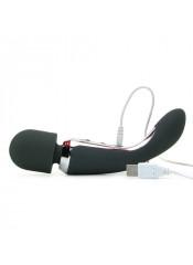 Massaggiatore + Vibratore 2 Motori RICARICABILE USB in Puro Silicone 23 x 4,5 cm.