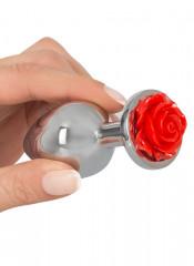 Cuneo anale in alluminio con gemma a forma di rosa rossa 9 x 3,4 cm.