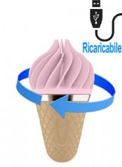 Lecca clitoride Satisfyer portatile a forma di gelato al gusto di puro piacere in silicone rosa