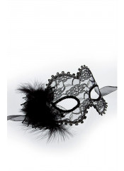 Burlesque Maschera Venetian in Pizzo Trasparente e Piume