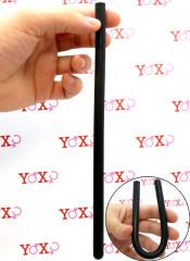 Sonda dilatatore uretra flessibile in silicone nero 24 x 1 cm.