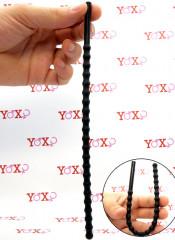 Sonda dilatatore uretra flessibile in silicone nero con 21 rilievi stimolanti 24 x 0,8 cm.