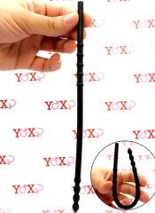 Sonda dilatatore uretra flessibile in silicone nero con 8 rilievi stimolanti 24 x 0,8 cm.