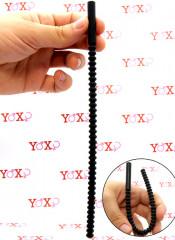 Sonda dilatatore uretra flessibile in silicone nero con 37 rilievi stimolanti 24 x 0,8 cm.