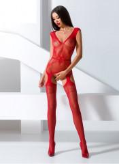 Tuta sexy a rete rossa con ricamo a fiocco su torace - Taglia unica elasticizzata (Tg.36-48)