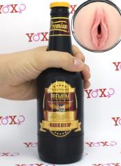 Masturbatore Nelly a forma di vagina color carne camuffato con bottiglia di birra